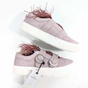Zara Blush Leather Feathered Sneaker Women's 6 NWT